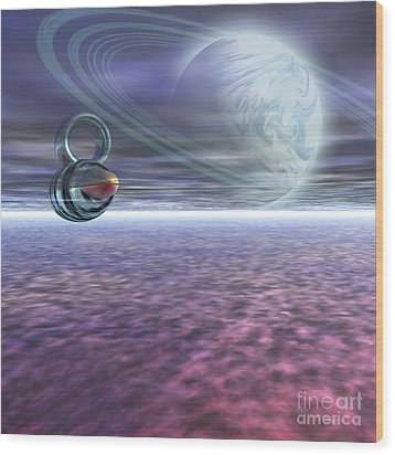 A Probe From Earth Is Sent To Jupiter Wood Print by Corey Ford