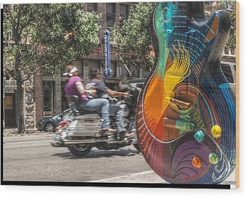 A Rainbow Guitar On Congress In Austin Wood Print by Jennifer Holcombe