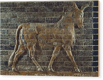 A Relief Depicts A Bull Wood Print by Lynn Abercrombie