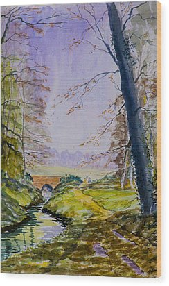 Wood Print featuring the painting A River Flows Gently by Rob Hemphill