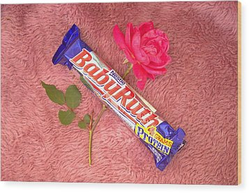 A Rose And A Babyruth Wood Print by Tom Zukauskas