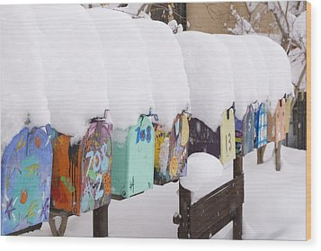 A Row Of Mailboxes In Winter Wood Print by Ralph Lee Hopkins