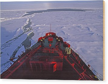 A Russian Nuclear Icebreaker, Forges Wood Print by Gordon Wiltsie