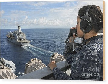 A Sailor Stands Forward Lookout Watch Wood Print by Stocktrek Images