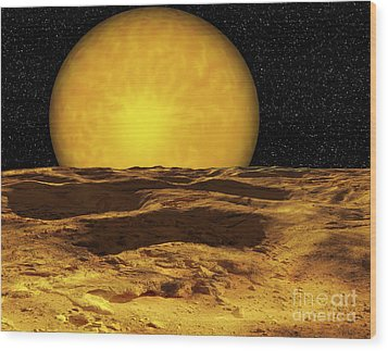 A Scene On A Moon Of Upsilon Andromeda Wood Print by Ron Miller
