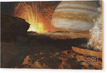 A Scene On Jupiters Moon, Io, The Most Wood Print by Ron Miller