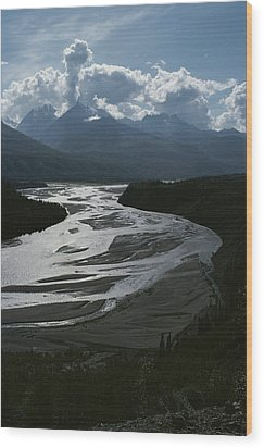 A Scenic View Of The Matanuska River Wood Print by George F. Herben