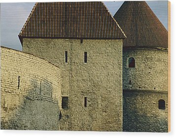 A Section Of Wall Around Tallinn, Built Wood Print by Sisse Brimberg
