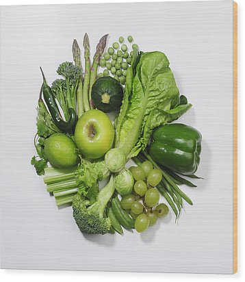 A Selection Of Green Fruits & Vegetables Wood Print by David Malan