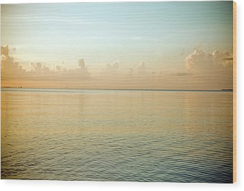 A Serene Landscape Of The Ocean And Sky At Sunrise Wood Print by Adam Hester