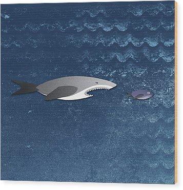 A Shark Chasing A Smaller Fish Wood Print by Jutta Kuss