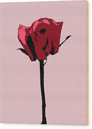 A Single Rose Wood Print by Karen Nicholson