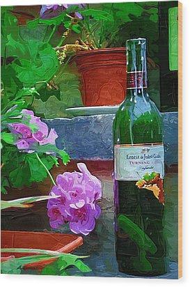 A Sip Of Wine Wood Print by Amanda Moore
