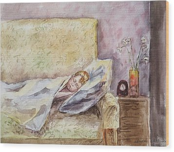 A Sleeping Toddler Wood Print by Irina Sztukowski