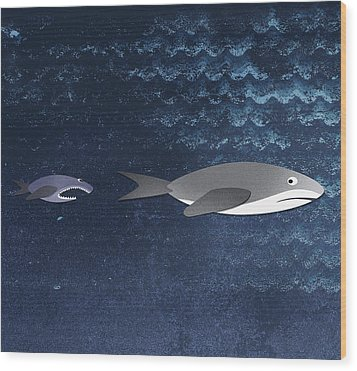 A Small Fish Chasing A Shark Wood Print by Jutta Kuss