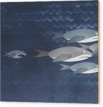 A Small Fish Chasing Three Sharks Wood Print by Jutta Kuss
