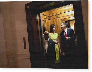A Smiling President Obama Holds Wood Print by Everett