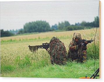 A Sniper Unit Of The Paracommandos Wood Print by Luc De Jaeger