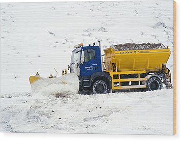 A Snow Plough Clearing A Road Wood Print by Duncan Shaw