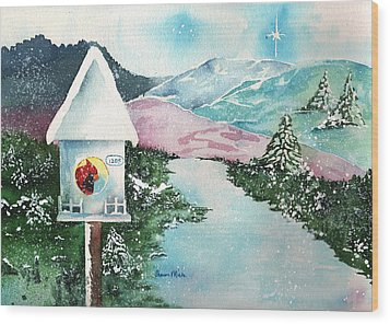 A Snowy Cardinal Day - Christmas Card Wood Print by Sharon Mick
