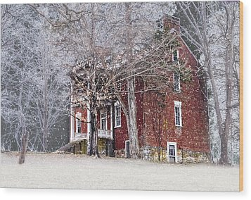 A Snowy Night Wood Print by Kathy Jennings