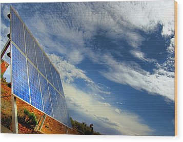 A Solar Panel In The Desert Of South Wood Print by Brooke Whatnall