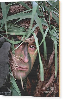 A Soldier Camouflaged In His Ghillie Wood Print by Stocktrek Images