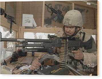 A Soldier Conducts An Observation Wood Print by Stocktrek Images