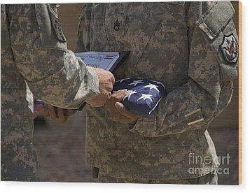 A Soldier Is Presented The American Wood Print by Stocktrek Images