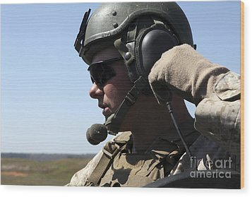 A Soldier Keeps In Radio Contact Wood Print by Stocktrek Images