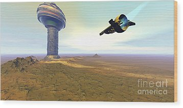 A Spacecraft Nears A Spaceport Wood Print by Corey Ford