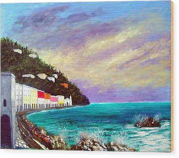 Wood Print featuring the painting A Splash Of The Mediterranean  by Larry Cirigliano