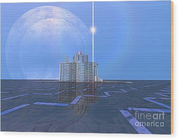 A Star Shines On Alien Architecture Wood Print by Corey Ford