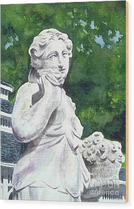 Wood Print featuring the painting A Statue At The Wellers Carriage House -1 by Yoshiko Mishina