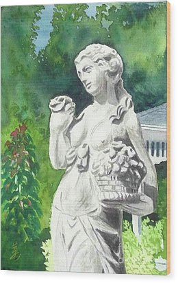 Wood Print featuring the painting A Statue At The Wellers Carriage House -2 by Yoshiko Mishina