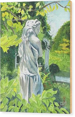 Wood Print featuring the painting A Statue At The Wellers Carriage House -3 by Yoshiko Mishina