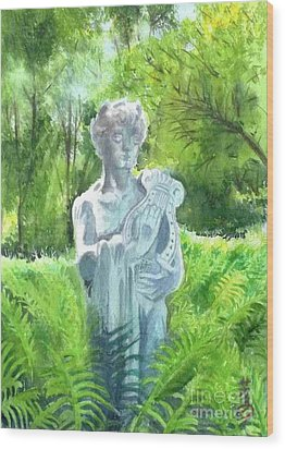 Wood Print featuring the painting A Statue At The Wellers Carriage House -4 by Yoshiko Mishina