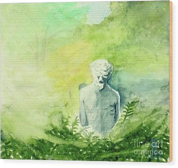 Wood Print featuring the painting A Statue At The Wellers Carriage House -5 by Yoshiko Mishina