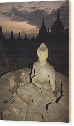 A Statue Of Buddha,  Borobudur, Java Wood Print by Paul Chesley