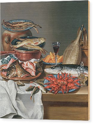 A Still Life Of A Fish Trout And Baby Lobsters Wood Print by Anton Friedrich Harms