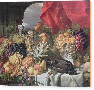 A Still Life Of Game Birds And Numerous Fruits Wood Print by William Duffield