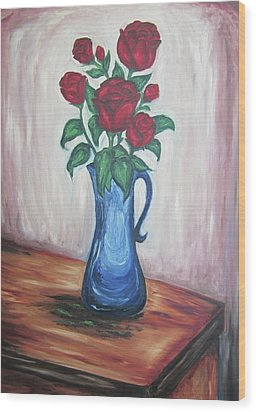 Wood Print featuring the painting A Still Life Of Red Roses by Cheryl Pettigrew