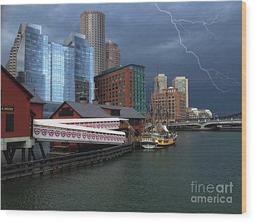 Wood Print featuring the photograph A Storm In Boston by Gina Cormier