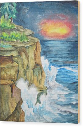 Wood Print featuring the painting A Storm Is Brewing On The Great Lakes - Wcs by Cheryl Pettigrew