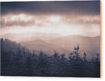 a Storm Over the Smokys Monotone Wood Print by Pixel Perfect by Michael Moore
