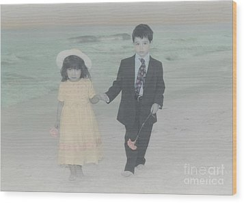 Wood Print featuring the photograph A Stroll On The Beach by Lori Mellen-Pagliaro