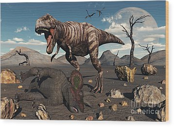 A T. Rex Is About To Make A Meal Wood Print by Mark Stevenson