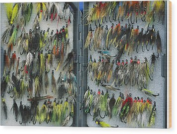 A Tackle Box Full Of Colorful Flies Wood Print by Bill Curtsinger