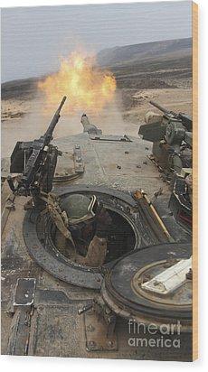 A Tank Crewman Braces Himself Wood Print by Stocktrek Images