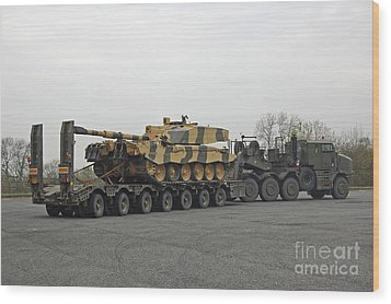 A Tank Transporter Hauling A Challenger Wood Print by Andrew Chittock